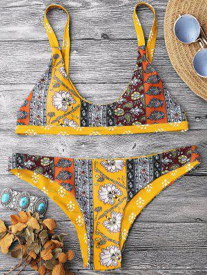 Patchwork Print Bralette Scoop Bikini Set - Yellow M
