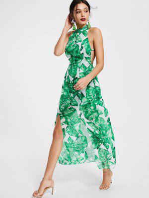 Leaves Print Open Back Slit Maxi Dress - Green L