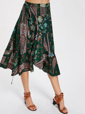 Falda De Estampado De Estampado Floral De Alta Cintura - Floral L