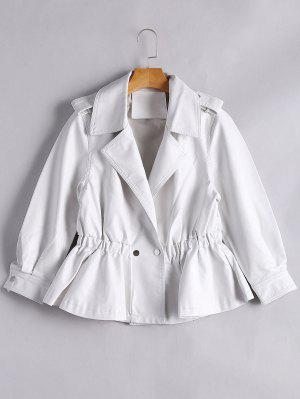 Snap Buttons Faux Leather Jacket - White Xl