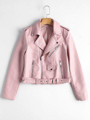 Zip Up Belted Faux Leather Biker Jacket - Light Pink M