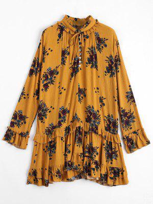 Vestido De Encaje Con Volantes De Flores - Jengibre L