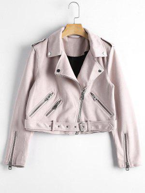 Asymmetric Zipper Belted Faux Suede Jacket - Light Pink S