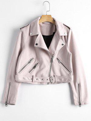 Asymmetrische Jacke aus Kunst Wildleder mit Reißverschluss und Gürtel