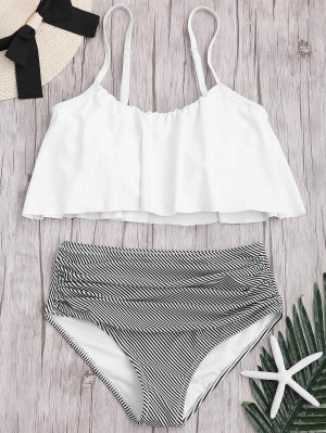 Plus Size Striped High Waisted Bikini Set