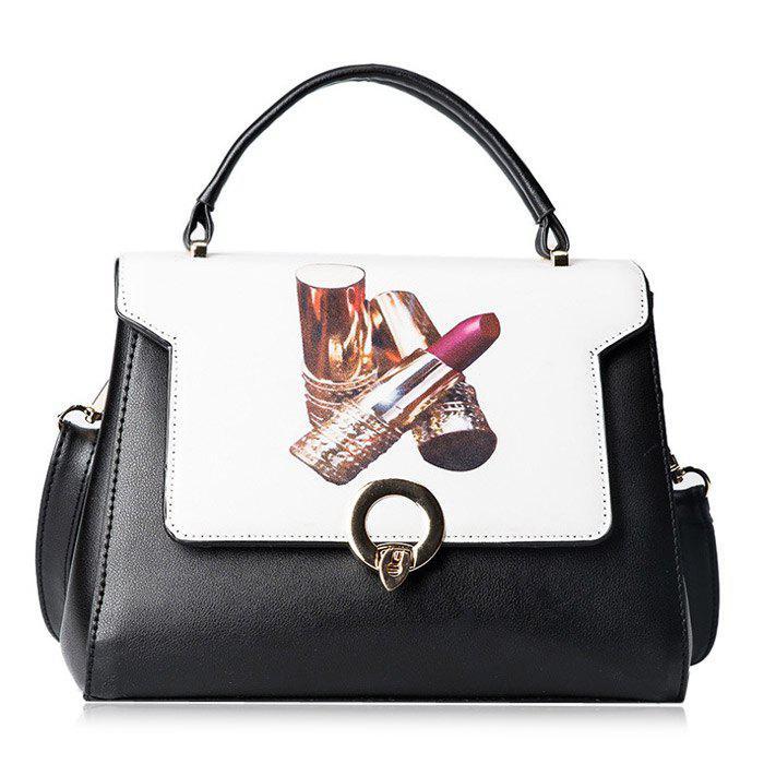 Metal Embellished Faux Leather Print Handbag 221816801