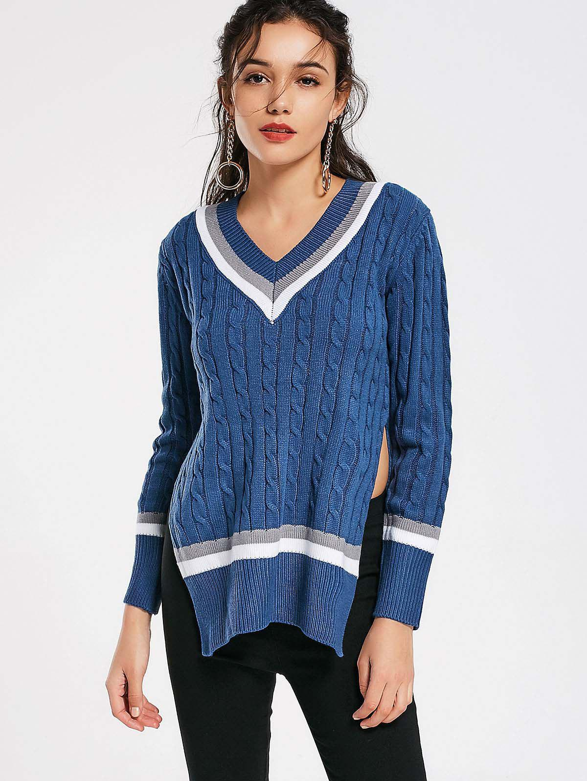 Slit Cable Knit V Neck Sweater 222161404