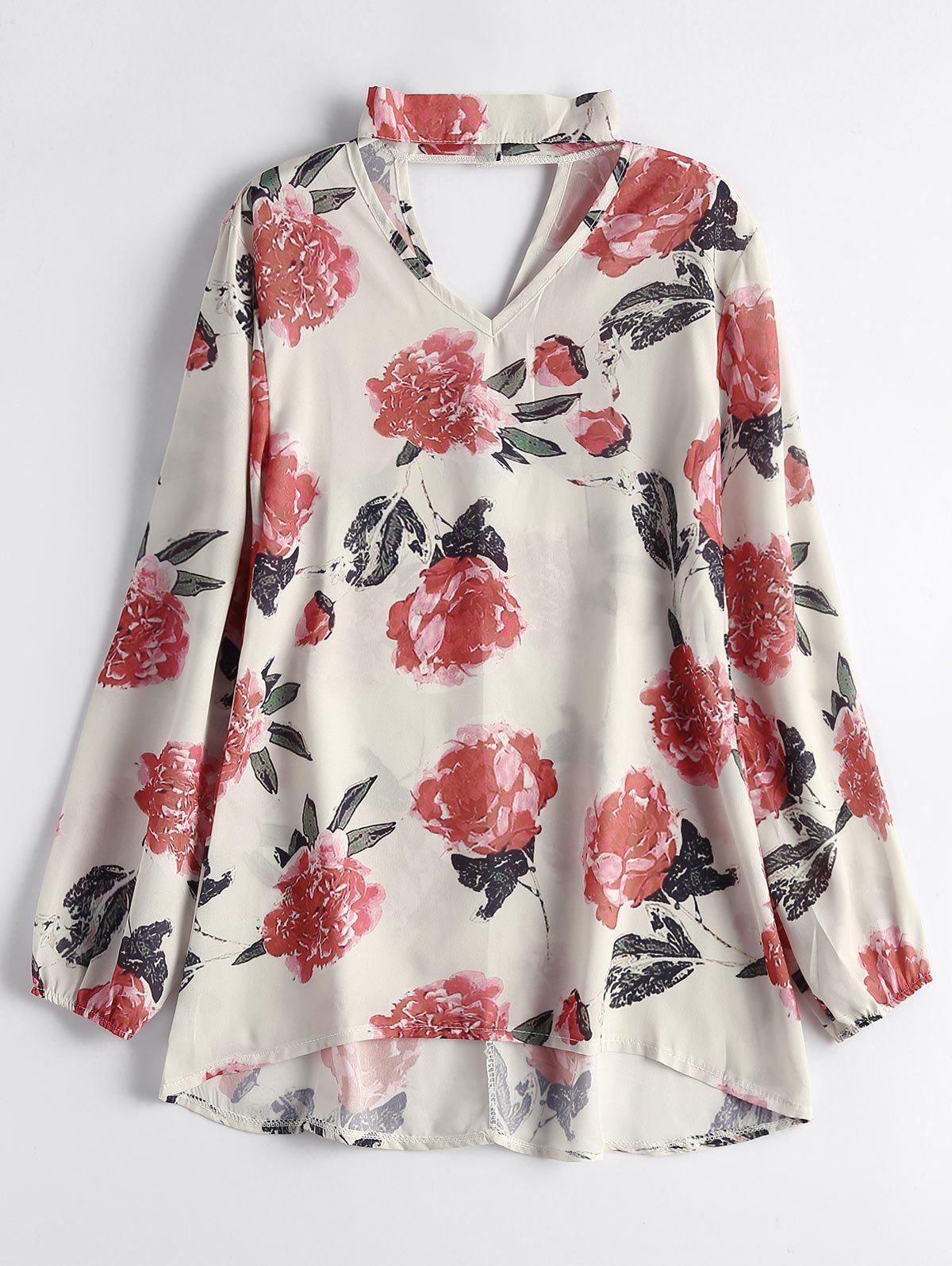 Floral Chiffon Choker Bluse