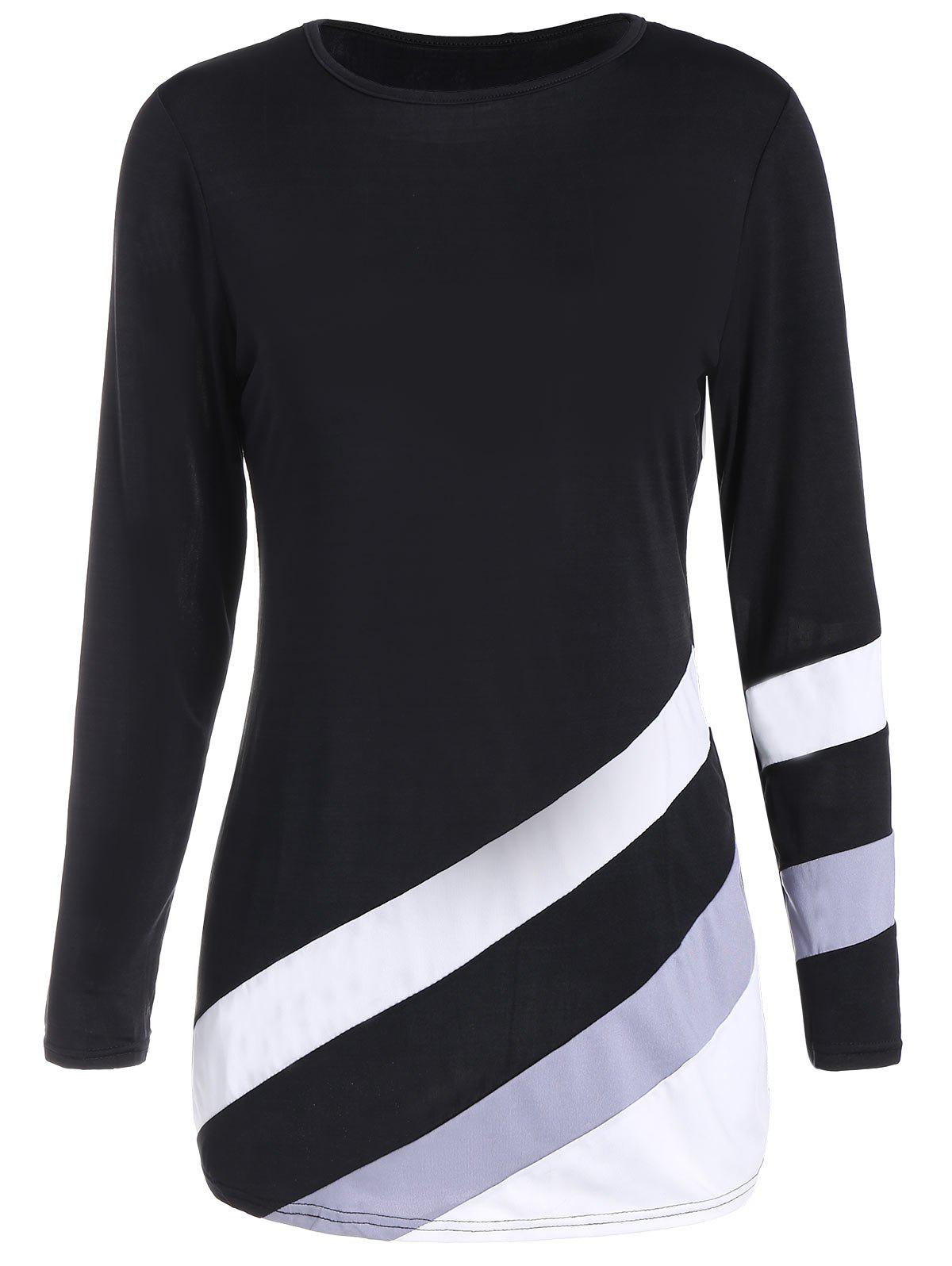 Long Sleeves Color Block Tunic T shirt 221545002