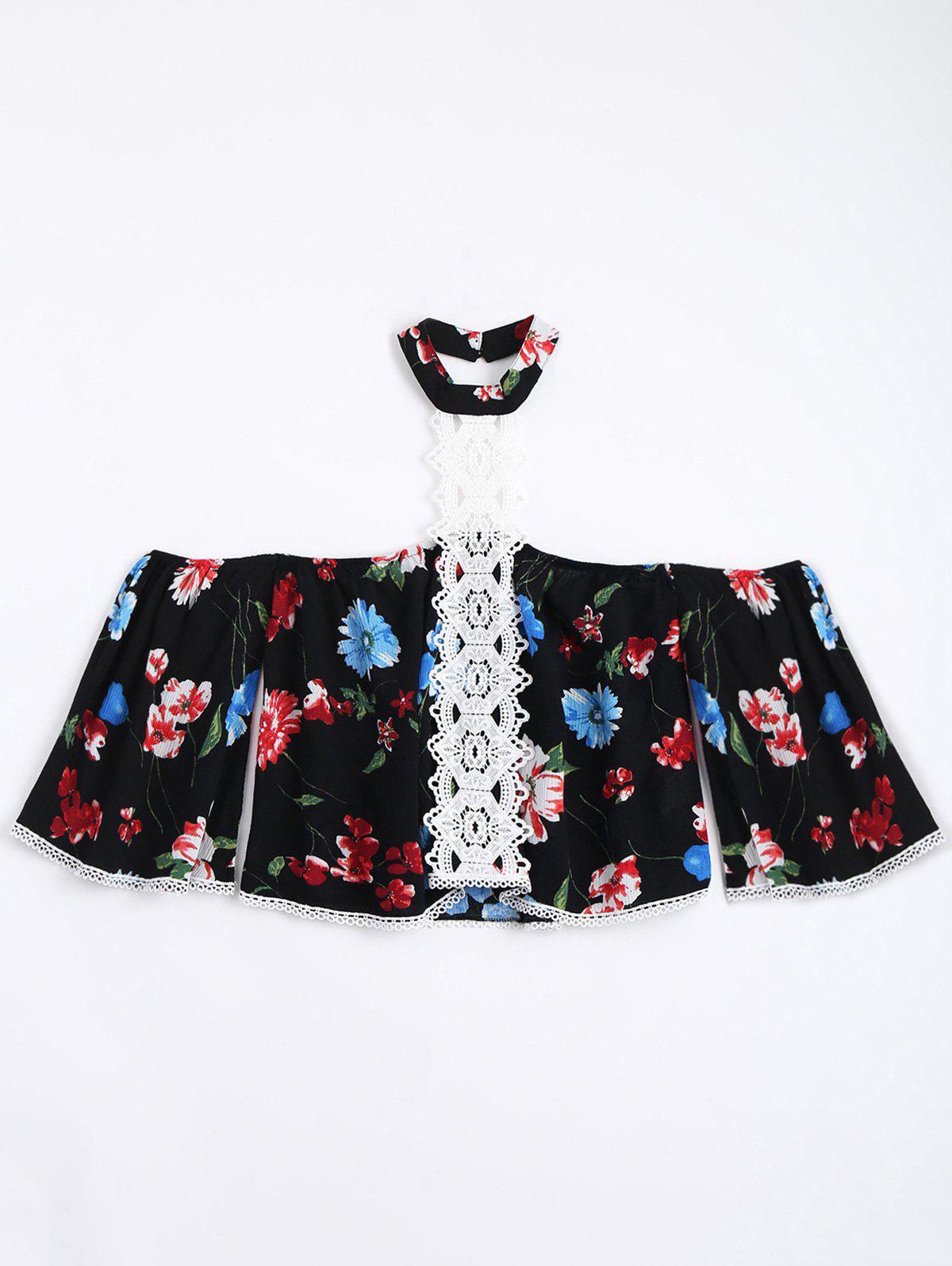 Blumenspitze Trim Choker Bluse