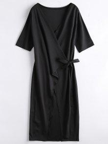 Front Slit Wrap Midi Dress - Black Xl