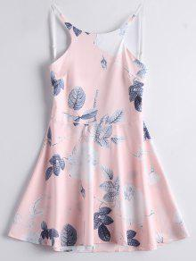 Leaves Floral Backless A Line Dress - Pink L