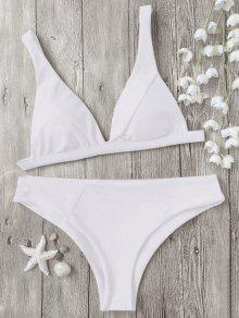 Padded Plunge Bikini Top And Bottoms - White M
