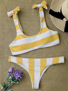 Striped Tie Shoulder Scoop Bikini Set - White And Yellow M
