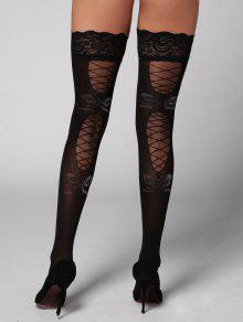Buy Lace Panel Overknee Stockings - BLACK ONE SIZE