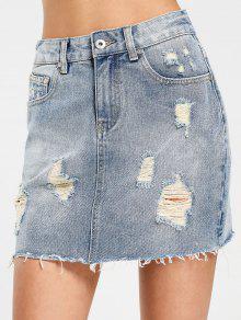 High Waisted Destroyed Denim Skirt - Denim Blue M