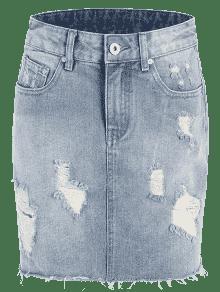 High Waisted Destroyed Denim Skirt DENIM BLUE: Skirts L | ZAFUL
