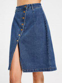 Slit Button Up Denim Skirt - Denim Blue L