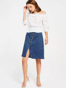 Slit Button Up Denim Skirt DENIM BLUE: Skirts XL | ZAFUL
