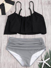 Plus Size Striped High Waisted Bikini Set - Black Xl