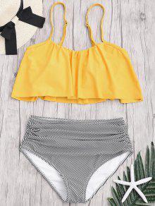 Conjunto De Bikini De Talla Grande Con Rayas Y Cintura Alta - Amarillo 2xl