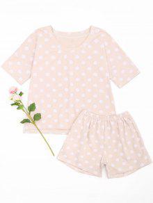 Polka Dot Loungewear T-shirt And Shorts - Pink Xl