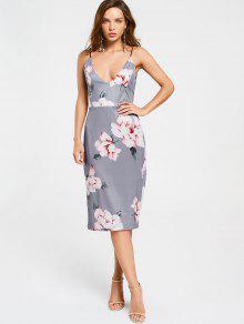 Backless Floral Shesth Dress - Floral L