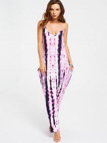 Casual Tie Dyed Maxi Dress - Purple Xl