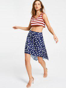 Cropped Stripes Tank Top And Star Asymmetrical Skirt - Xl