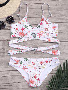 Conjunto De Bikini Relleno Floral Envuelto - L