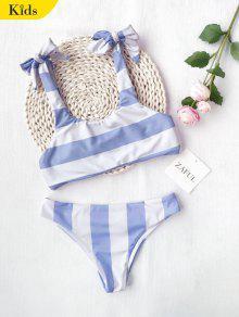 Conjunto De Biquíni De Listrado Com Nó De Nó Bordado - Azul E Branco 8t