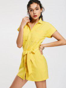 Casual Belted Mini Shirt Dress - Yellow S