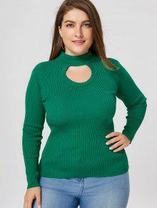 Suéter Con Cuello Redondo De Corte Superior - Verde 5xl