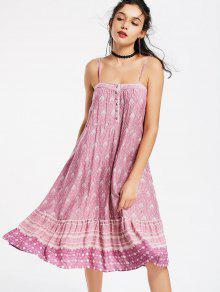 Half Buttoned Tribal Swing Slip Dress - L