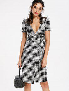 2018 checked ruffles wrap casual dress in checked m zaful