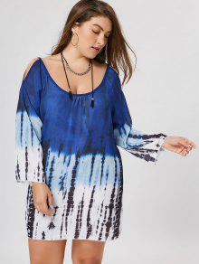Plus Size Tie Dye Cold Shoulder Tunic Dress - 3xl