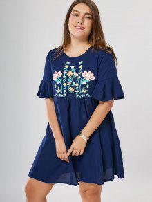 Floral Plus Size Babydoll Dress - Blue 5xl
