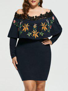 Stickerei Plus Size Aus Schulter Bodycon Kleid - 5xl