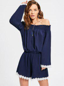 Off The Shoulder Lace Hem Romper - Purplish Blue S