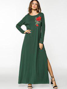الشق الزهور مطرز بقع فستان ماكسي - أخضر 2xl