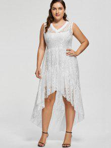 High Low Lace Plus Size Prom Dress