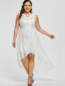 25% OFF] 2019 High Low Lace Plus Size Prom Dress In WHITE | ZAFUL