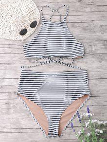 Plus Size Stripe High Neck Bikini Set - White Xl