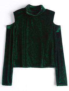Crushed Velvet Cold Shoulder Top - Blackish Green M
