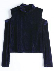 Crushed Velvet Cold Shoulder Top - Purplish Blue Xl