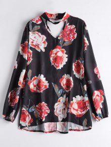 Floral Chiffon Choker Blouse - Black Xl