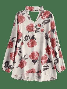 Floral Xl Refuerzo Gasa Blusa Con Albaricoque De CqwPdUx
