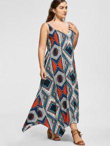 08e65e0d0fa 29% OFF  2019 Sleeveless Tribal Print Plus Size Handkerchief Dress ...