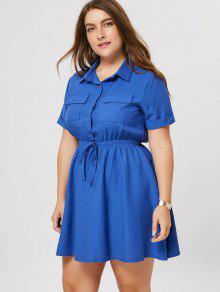 Plus Size Cuffed Shirt Dress - Blue 2xl