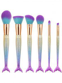 6Pcs Ombre Mermaid Tail Facial Makeup Brushes - Bleu Violet